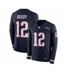 Men's Nike New England Patriots #12 Tom Brady Limited Navy Blue Therma Long Sleeve NFL Jersey