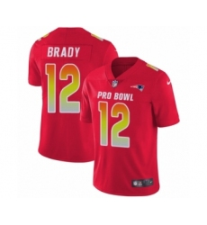 Men's Nike New England Patriots #12 Tom Brady Limited Red AFC 2019 Pro Bowl NFL Jersey