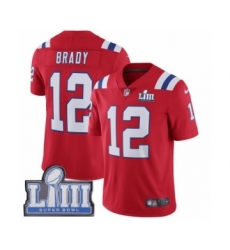 Men's Nike New England Patriots #12 Tom Brady Red Alternate Vapor Untouchable Limited Player Super Bowl LIII Bound NFL Jersey