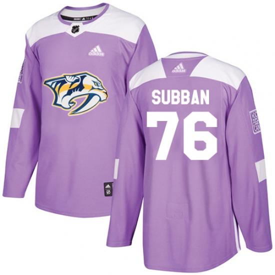 Youth Adidas Nashville Predators  76 P.K Subban Authentic Purple Fights  Cancer Practice NHL Jersey 682b66f1d