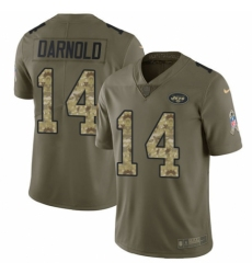 Men's Nike New York Jets #14 Sam Darnold Limited Olive/Camo 2017 Salute to Service NFL Jersey