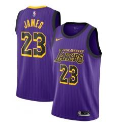 Men's Nike Los Angeles Lakers #23 LeBron James Swingman Purple stripe NBA Jersey