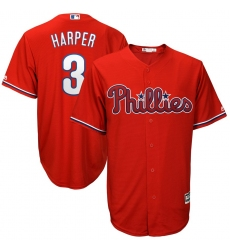 Men's Philadelphia Phillies #3 Bryce Harper Majestic Scarlet Official Cool Base RED Player Jersey
