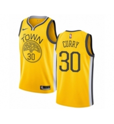 Men's Nike Golden State Warriors #30 Stephen Curry Yellow Swingman Jersey - Earned Edition