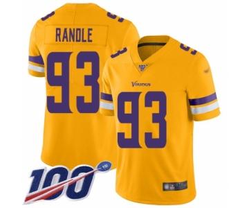 Men's Minnesota Vikings #93 John Randle Limited Gold Inverted ...